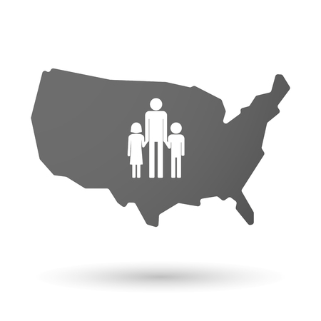 single parent: illustration of an isolated USA map icon with a male single parent family pictogram Illustration