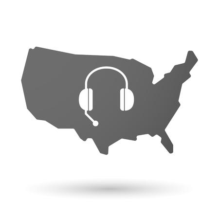 hands free phone: ilustraci�n de un icono de mapa aislado EE.UU. con un dispositivo de tel�fono manos libres