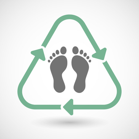 eco icon: illustration of a line art recycle sign icon with two footprints Illustration