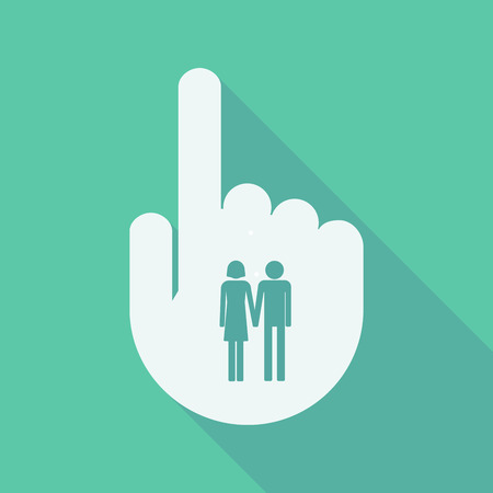 heterosexual couple: Illustration of a long shadow pointing finger hand with a heterosexual couple pictogram