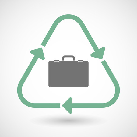 cycle suit: illustration of a line art recycle sign icon with a briefcase Illustration