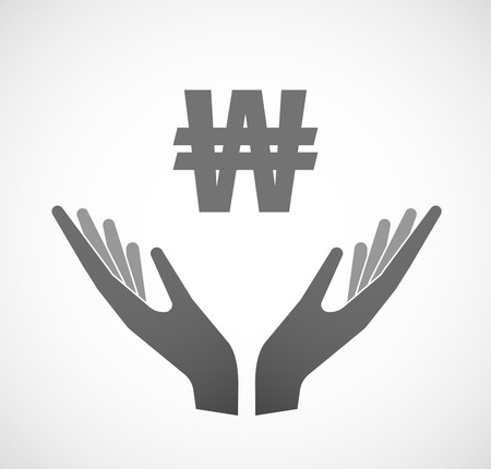 sustain: Illustration of two hands offering a won currency sign Illustration