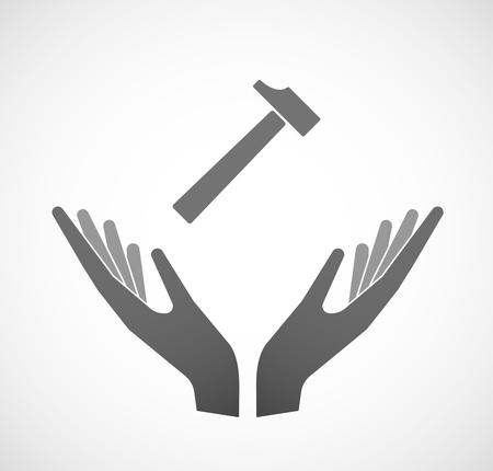 two: Illustration of two hands offering a hammer