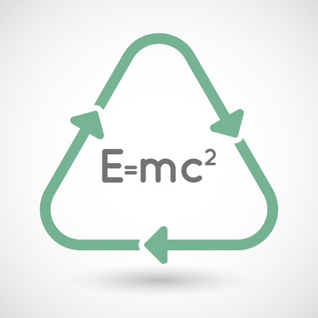 relativity: illustration of a line art recycle sign icon with the Theory of Relativity formula