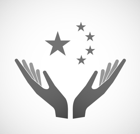 sustain: Illustration of two hands offering the five stars china flag symbol