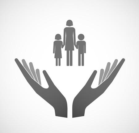 여성 단일 부모 가족 그림 제공하는 두 손의 그림