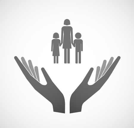 single parent: Illustration of two hands offering a female single parent family pictogram