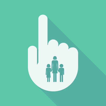 single parent: Illustration of a long shadow pointing finger hand with a female single parent family pictogram