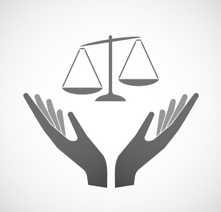unbalanced: Illustration of two hands offering an unbalanced weight scale