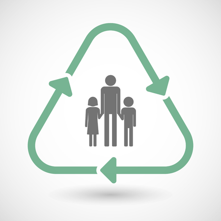 single family: illustration of a line art recycle sign icon with a male single parent family pictogram Illustration