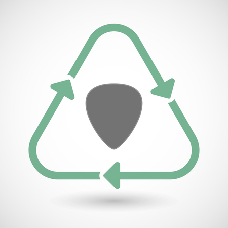 plectrum: illustration of a line art recycle sign icon with a plectrum Illustration