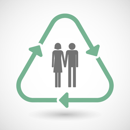 heterosexual couple: illustration of a line art recycle sign icon with a heterosexual couple pictogram