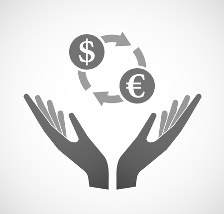 Illustration of two hands offering a dollar euro exchange sign