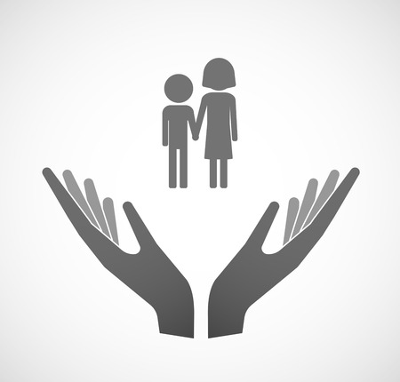 Illustration of two hands offering a childhood pictogram