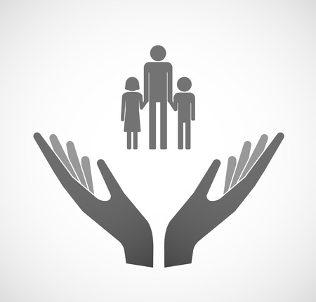 single parent family: Illustration of two hands offering a male single parent family pictogram Illustration