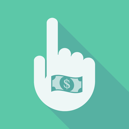 business funds: Illustration of a long shadow pointing finger hand with a dollar bank note Illustration