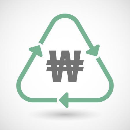 financial cycle: illustration of a line art recycle sign icon with a won currency sign