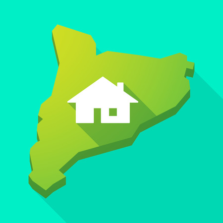 catalonia: Illustration of a Catalonia long shadow vector icon map with a house Illustration
