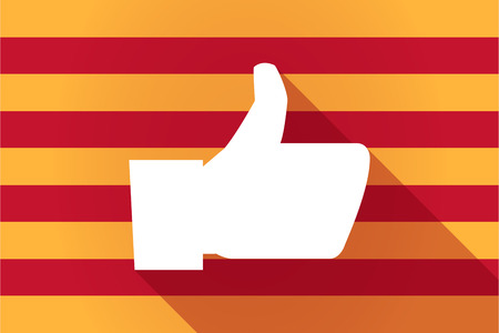 catalonia: Illustration of a long shadow Catalonia vector flag with a thumb up hand