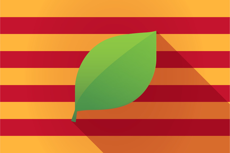 catalonia: Illustration of a long shadow Catalonia vector flag with a green  leaf