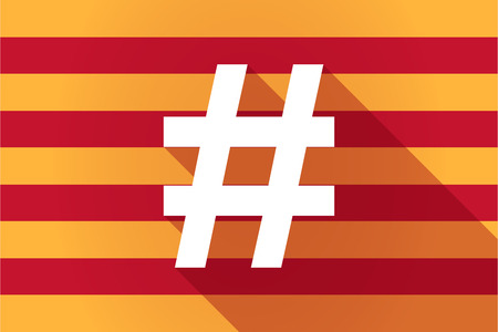 catalonia: Illustration of a long shadow Catalonia vector flag with a hash tag
