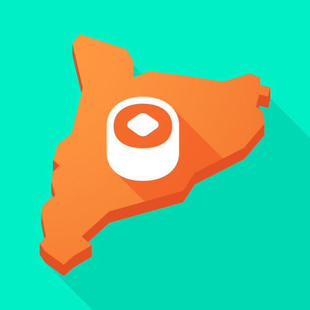 catalonia: Illustration of a Catalonia long shadow vector icon map with a piece of sushi