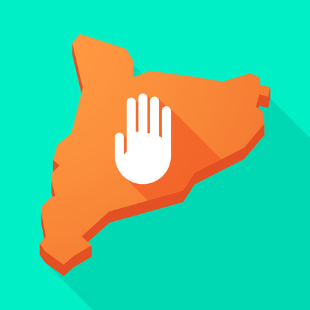 autonomy: Illustration of a Catalonia long shadow vector icon map with a hand