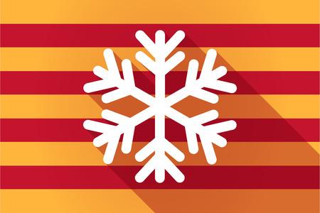 autonomia: Ilustraci�n de una larga sombra Catalu�a bandera de vectores con un copo de nieve