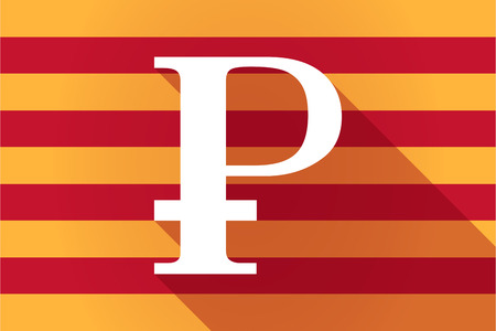 financial official: Illustration of a long shadow Catalonia vector flag with a ruble sign Illustration