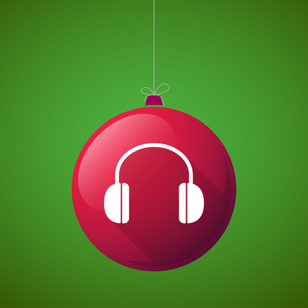 ear phones: Illustration of a long shadow vector christmas ball icon with a earphones