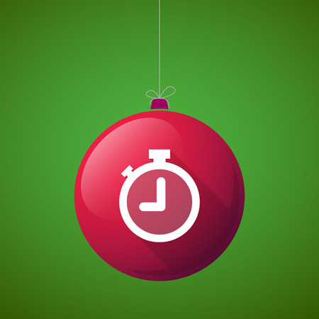 watch new year: Illustration of a long shadow vector christmas ball icon with a timer