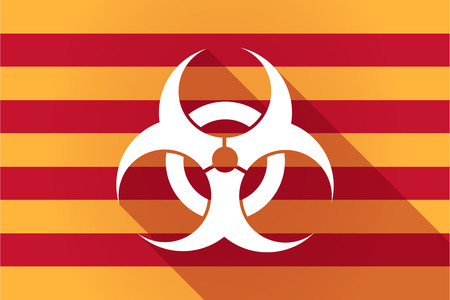 biohazard: Illustration of a long shadow Catalonia vector flag with a biohazard sign Illustration