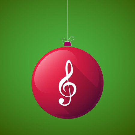 treble g clef: Illustration of a long shadow vector christmas ball icon with a g clef
