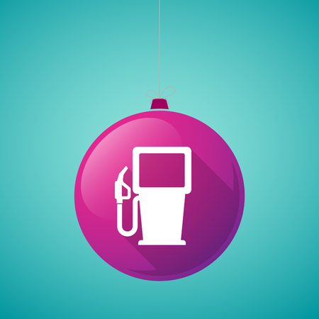 gas ball: Illustration of a long shadow vector christmas ball icon with a gas station
