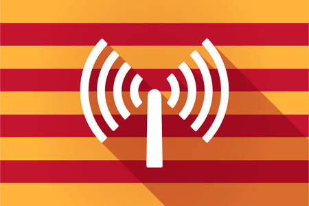 catalonia: Illustration of a long shadow Catalonia vector flag with an antenna