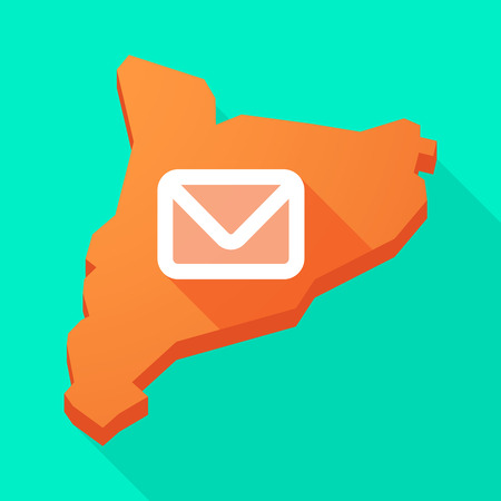 Illustration of a Catalonia long shadow vector icon map with an envelope