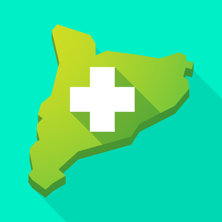 Illustration of a Catalonia long shadow vector icon map with a pharmacy sign