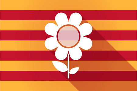 autonomy: Illustration of a long shadow Catalonia vector flag with a flower