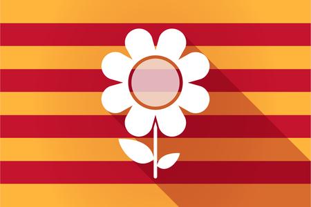 autonomia: Ilustraci�n de una larga sombra Catalu�a indicador del vector con una flor