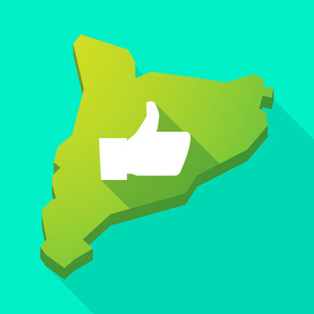 catalonia: Illustration of a Catalonia long shadow vector icon map with a thumb up hand