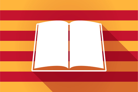 catalonia: Illustration of a long shadow Catalonia vector flag with a book