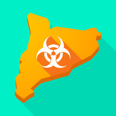 biohazard sign: Illustration of a Catalonia long shadow vector icon map with a biohazard sign