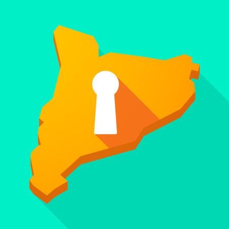 key hole: Illustration of a Catalonia long shadow vector icon map with a key hole Illustration