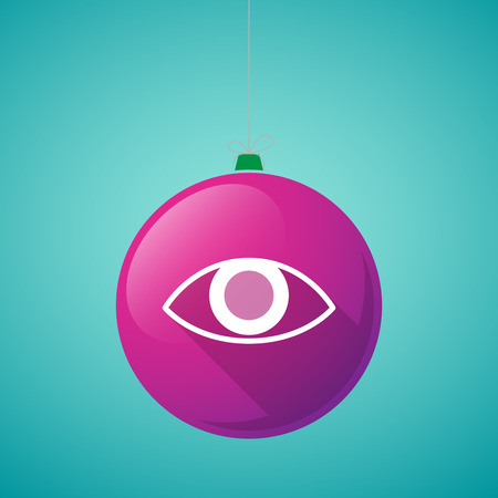 eye ball: Illustration of a long shadow vector christmas ball icon with an eye