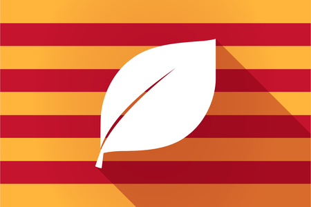 Illustration of a long shadow Catalonia vector flag with a leaf