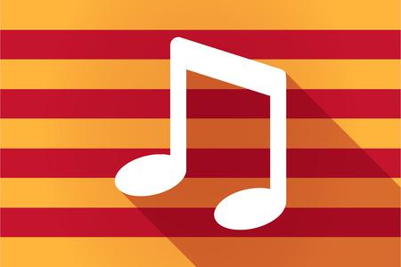 autonomia: Ilustración de una larga sombra Cataluña bandera vector con una nota de la música