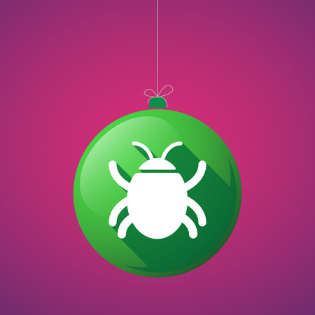computer worm: Illustration of a long shadow vector christmas ball icon with a bug