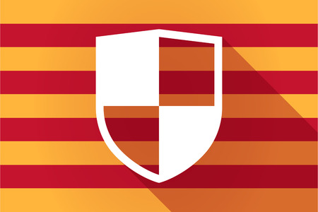 autonomia: Illustration of a long shadow Catalonia vector flag with a shield