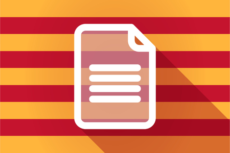 catalonia: Illustration of a long shadow Catalonia vector flag with a document