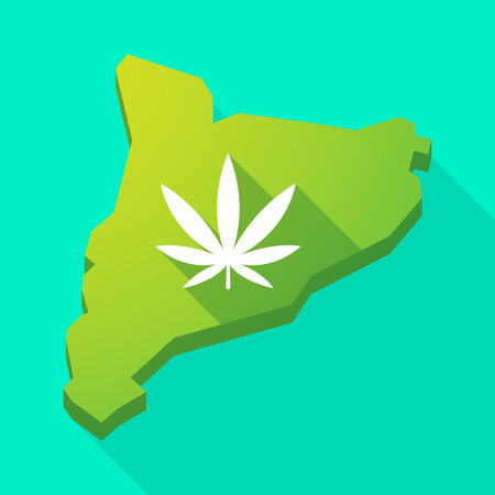 marihuana: Illustration of a Catalonia long shadow vector icon map with a marijuana leaf